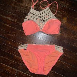 Coral high neck two piece bikini